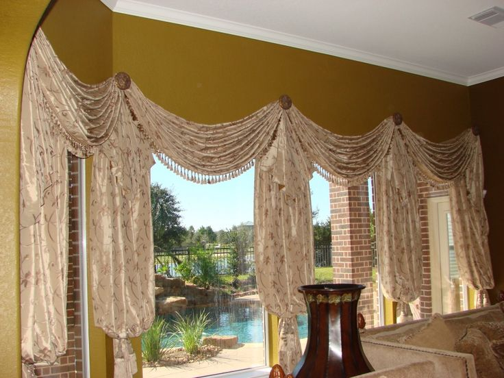 1000 Images About Swags Cascades Jabots On Pinterest Arch Window Treatments Window Scarf