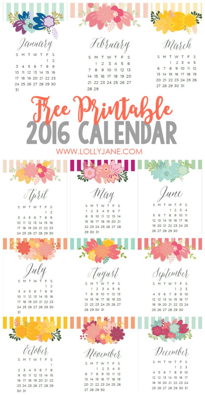 Adorable 2016 free printable calendars! Love these free printable 2016 calendars | lollyjane.com