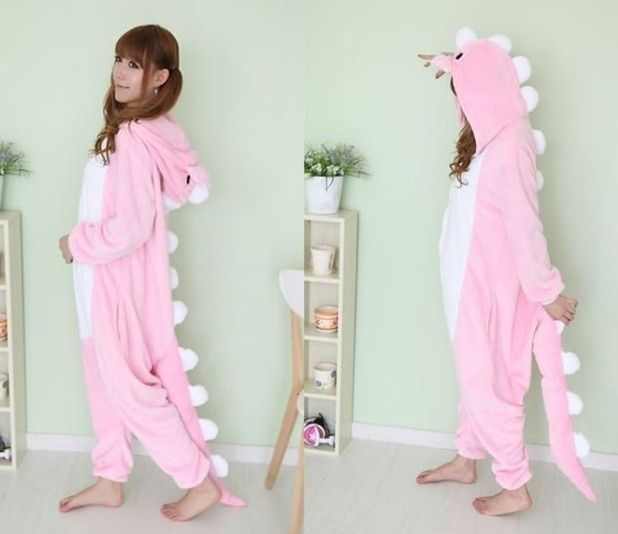 Kigurumi Pajamas Anime Cosplay Costume unisex Adult Onesie Dress Pink Dinosaur 1 $36.00