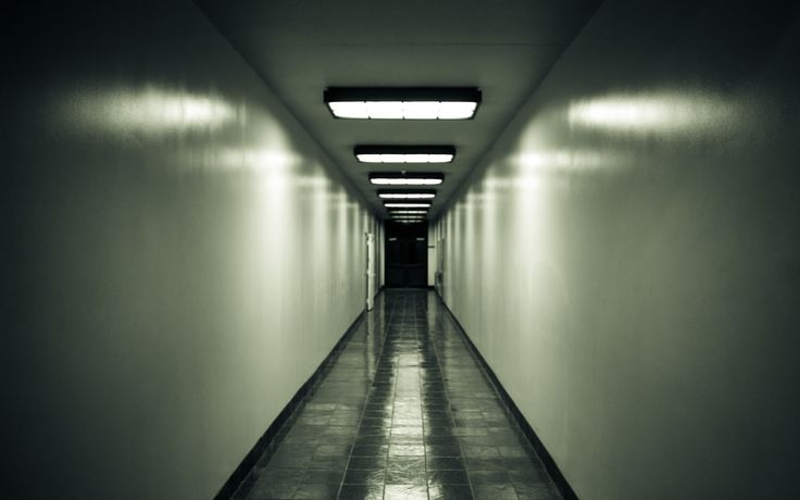 I Like The Eerie Lighting And Emptiness In The Hallway: hallway wallpaper inspiration