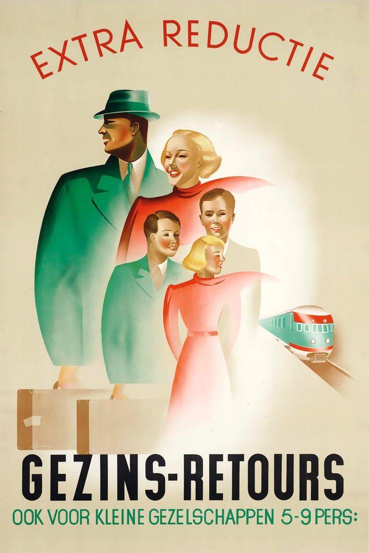 Affiche Gezinsretours, 1939 | Frans Waslander (Spoorwegmuseum Utrecht) Na het avond-, weekend-, en zomerretour om kwam het gezinsretour om te voldoen aan de behoefte van grote gezinnen om erop uit te trekken.