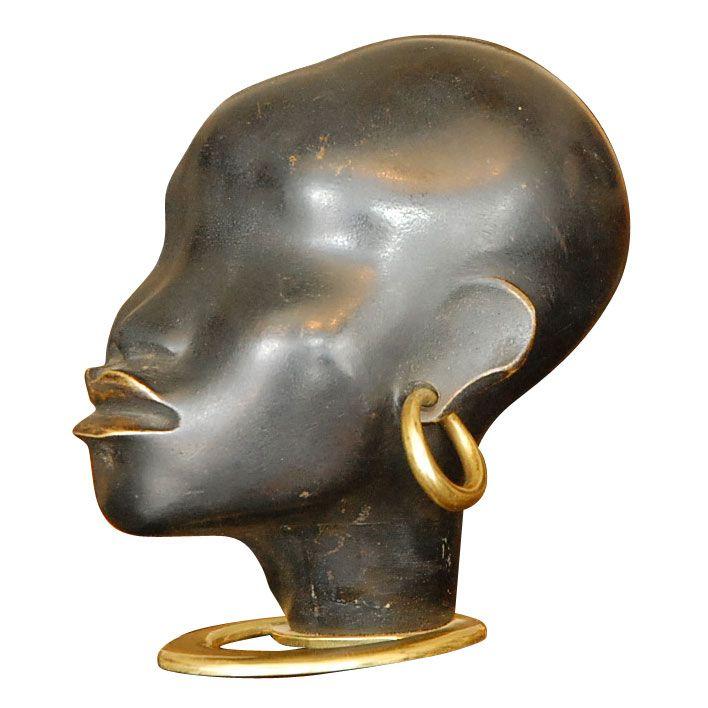 African Sculpture: Hagenauer Deco African Woman Bronze Head Signed