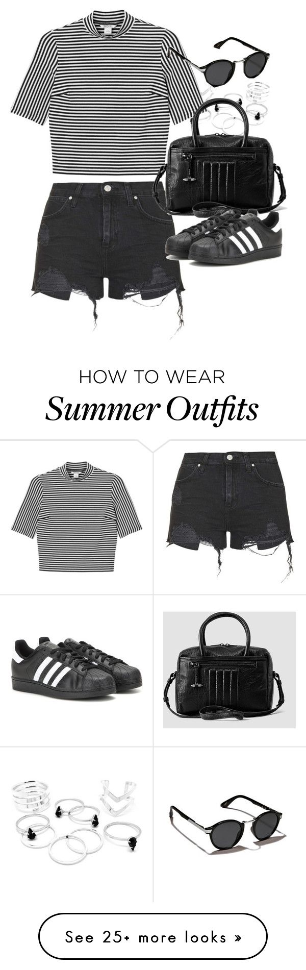 """Outfit for summer with denim shorts"" by ferned on Polyvore featuring Monki, Topshop, AllSaints, Abercrombie & Fitch and adidas"