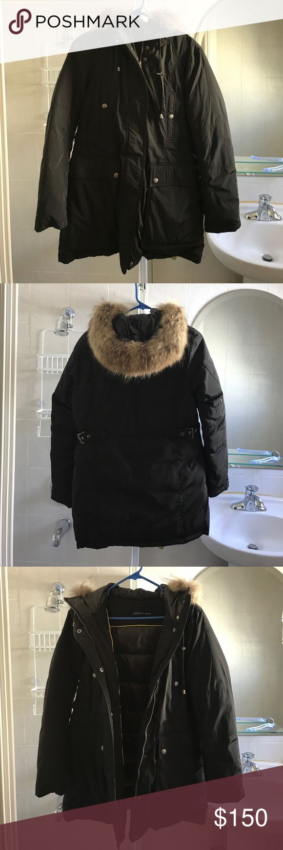 Andrew Marc Fur Hood Trim Down Jacket Black Andrew Marc insulated down jacket with real brown fur trimmed hood in size medium. Has two deep pockets in the front and a small zippered one along the inside of the jacket. Never worn and in perfect condition. Andrew Marc Jackets & Coats
