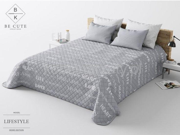 Francuskie narzuty na łóżko | LIVE pikowana narzuta szara na łóżko małżeńskie | Koceinarzuty.pl | Narzuty, zasłony, koce, pościel i inne