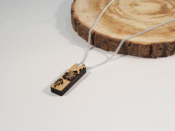 Bamboo and Solid Silver Rectangular Pendant with by BeamDesigns