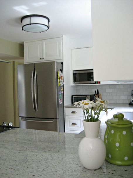 See our Restoration Hardware Heath Flush Mount in Oil Rubbed Bronze used in  our kitchen renovation. It coordinates well