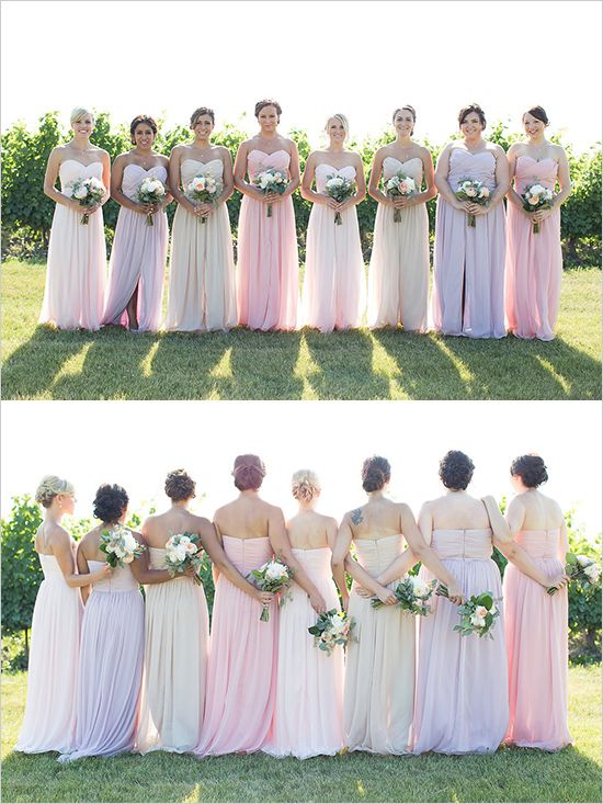 Floor length pastel bridesmaid dresses