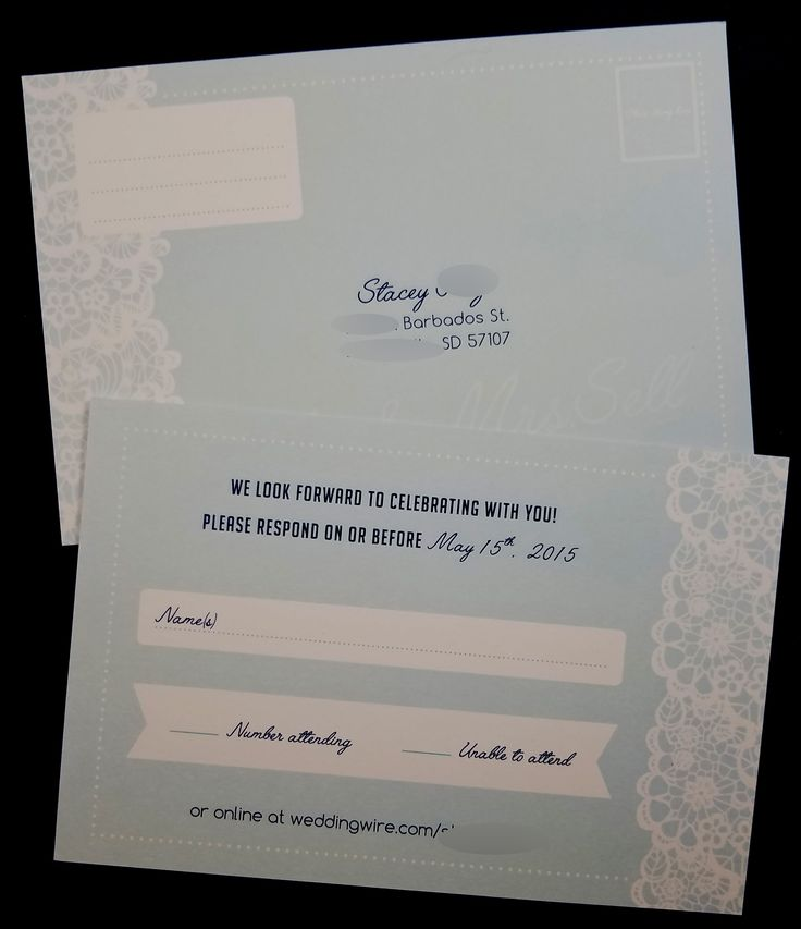 proper response time for wedding rsvp%0A White lace  blue background rsvp