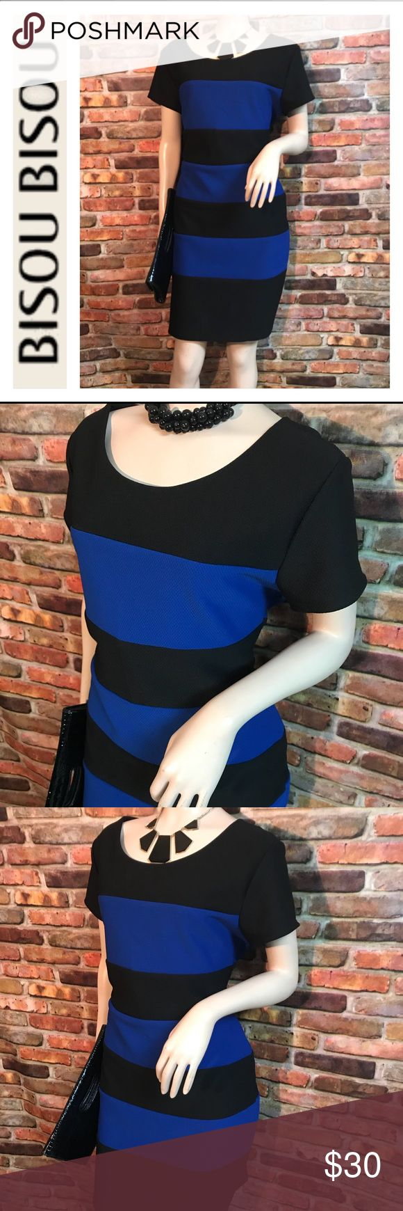 BISOU BISOU BLACK & BLUE STRIPED DRESS SIZE 16 🔥Selling a lovely FALTERING work wear dress by BISOU BISOU  🔥Size 16 and stretches  🔥Has that long zipper 🔥 Has Black & Royal Blue Stripes   Measurements 38 1/2 in Long & 18 in waist But can stretch up to 20 in .. and 21 in from armpit to armpit   It's a very lovely dress .. and has that black stripe on waist ..👍🏼 that makes waist look smaller ♥️  Check out my Plus Size Clothing  Bundle & Save 👍🏼 Bisou Bisou Dresses