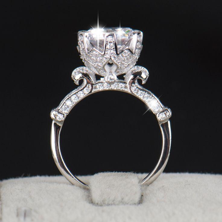 R & J 4.0ct AAAAA Ebene CZ Ring Mode Frauen Geschenk 925 Sterling Silber Schmuck 2016 Marke Hochzeit Ring Blume Crown Design