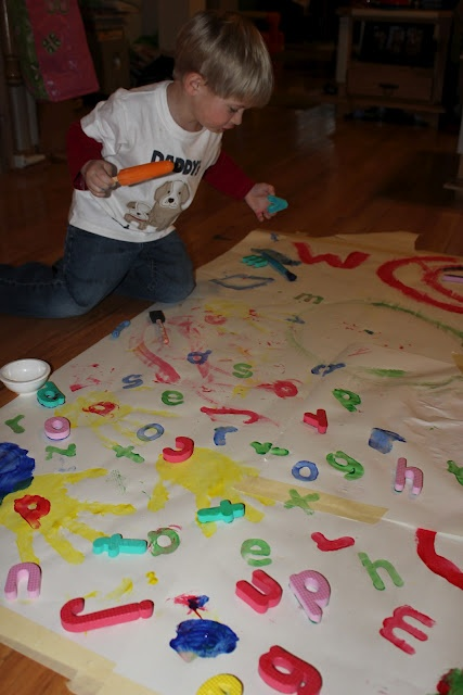 Momma's Fun World: Alphabet stamping with foam letters