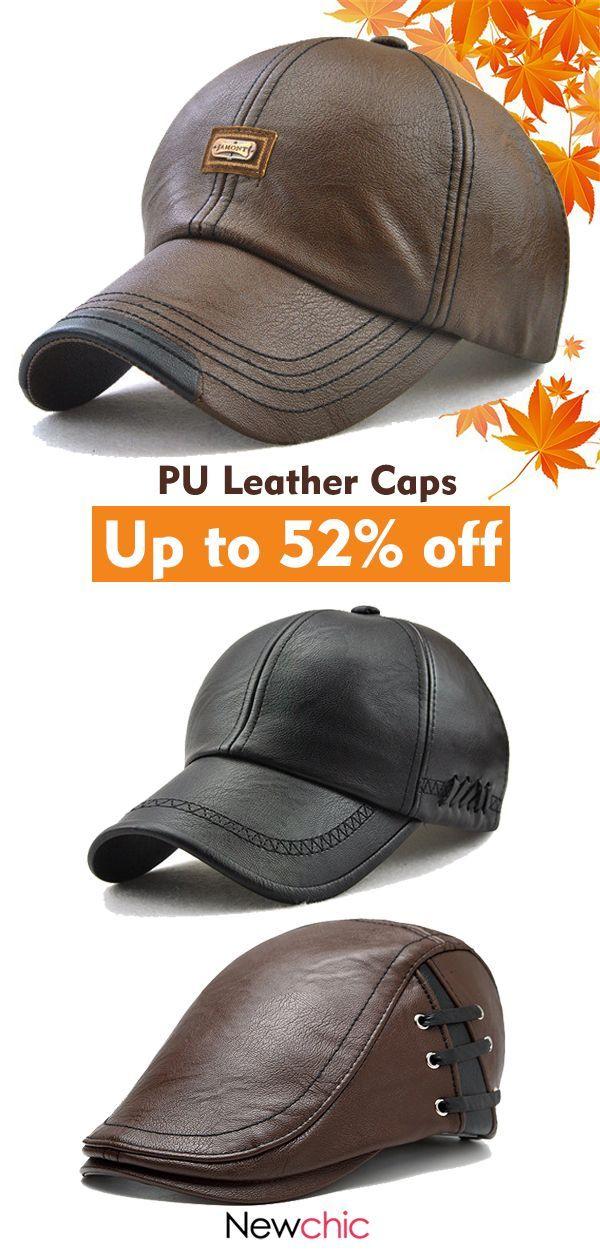 4a6d2a121168d8 Men PU Leather Baseball Cap Beret Caps Casual Outdoor Adjustable Warm Hats  #outdoor #cap