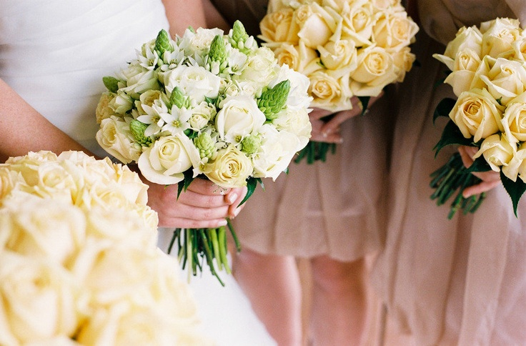 i like the simplicity of the bridesmaid bouquets with the complex bridal bouquet.