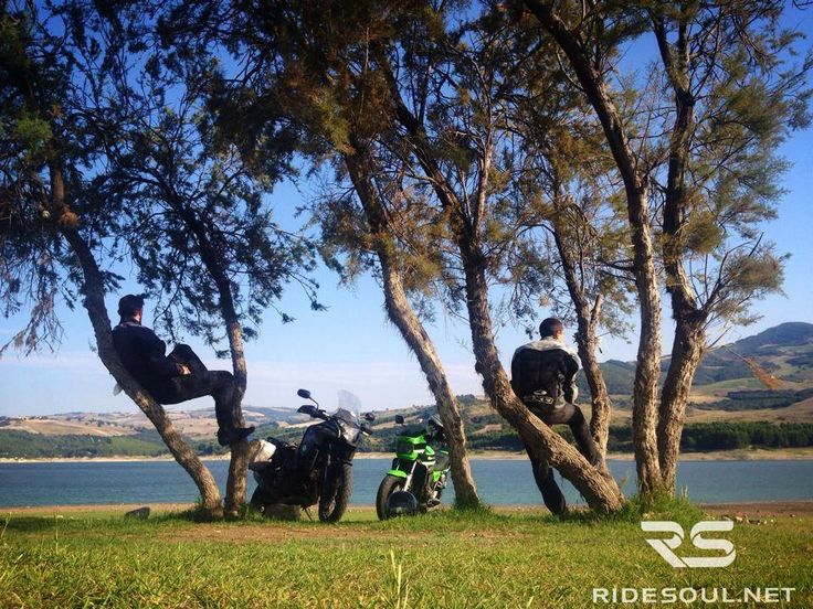 Waiting for the sunset at Lake Guardialfiera! #motorcycle #tour #italy