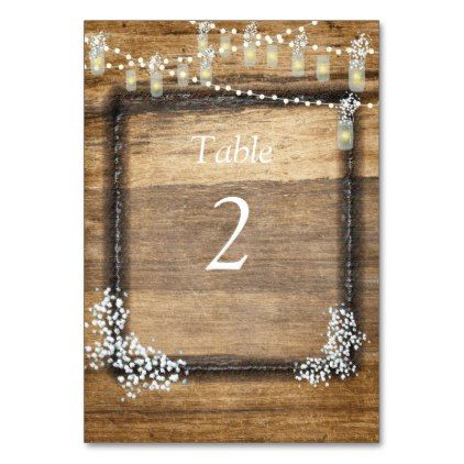Rustic Wood Baby's Breath Mason Jars Custom Card - elegant wedding gifts diy accessories ideas