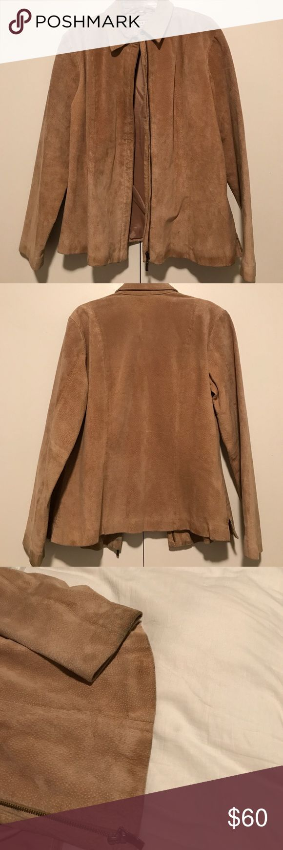 A.M.I. Suede leather jacket - sz M Suede leather jacket with zip front. Slightly cinched at waist but overall straight fit. Worn from age (as shown in picture of sleeve and hem, this jacket is several several decades old!) made by A.M.I., size medium. 22 inches long. A.M.I Jackets & Coats