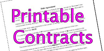 Printable Contract Examples Sample Contracts  Contract Templates  Business Contracts 304 sample contract templates you can view download and print for free. There are contracts and agreements for many home and business arrangements including home maintenance services modeling and photography contracts rental contracts event contacts and more. Here are the 15 most popular contracts:
