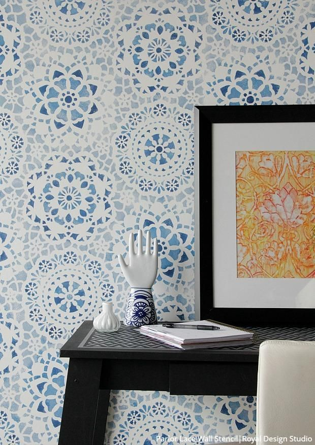 Paint Your Own Indigo Wallpaper Look With Wall Stencils In 2020 Indigo Wallpaper Stencils Wall Lace Wall Stencil