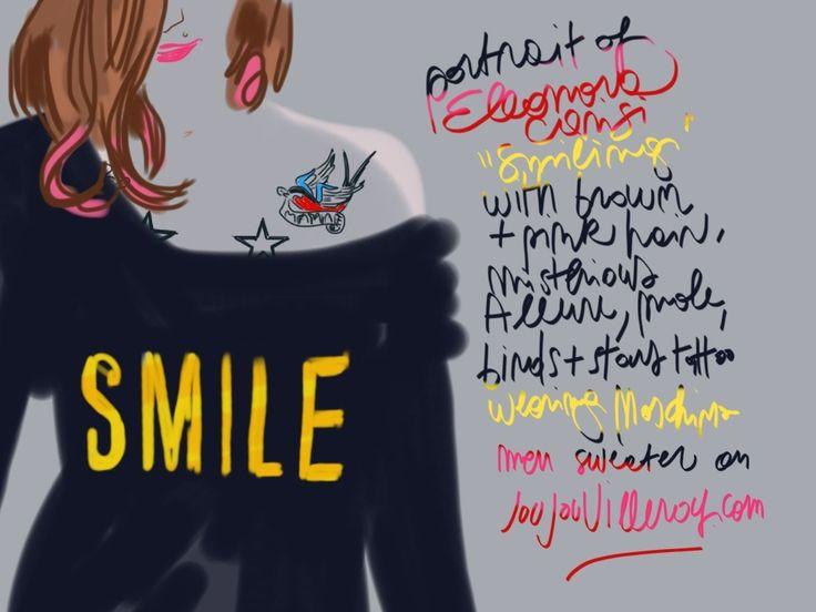 Portrait of beautiful Eleonora Carisi, famous italian blogger, wearing Moschino.  #illustration Open Toe - Opentoeillustration.com