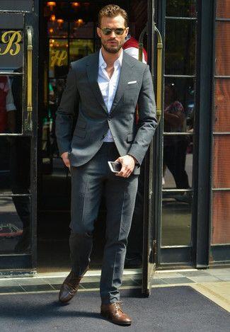 13 best suits images on Pinterest | Charcoal suit brown shoes ...