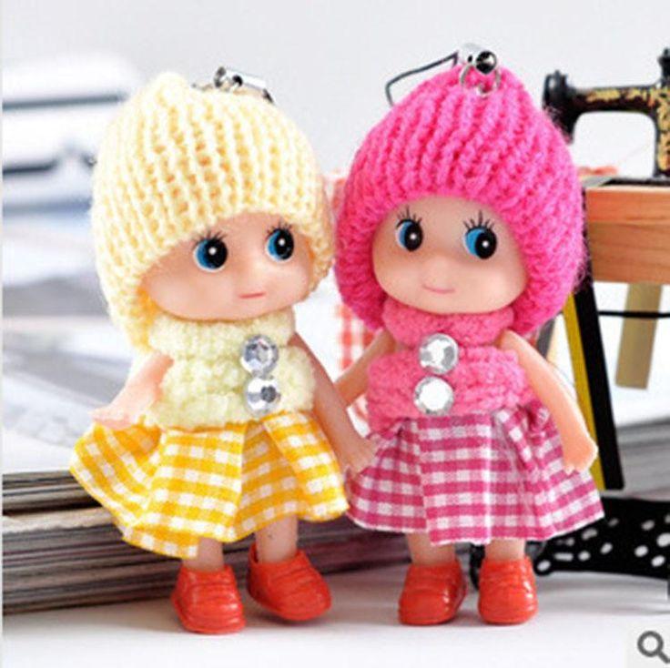 Toys Soft Interactive Baby Dolls Toy Key Chain, Doll Keychain for Girls Key Ring Key Holder Mobile Phone Straps