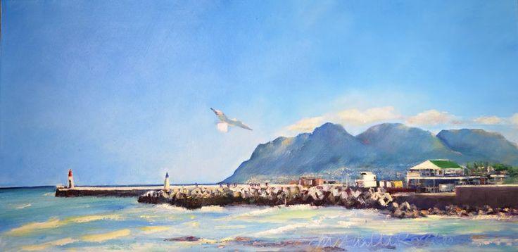 """http://mathildarosslee.wix.com/mathilda-rosslee View from Brass Bell - Kalk Bay 30 x 60 cm / 11.8"""" x 23.6"""" oil on canvas"""