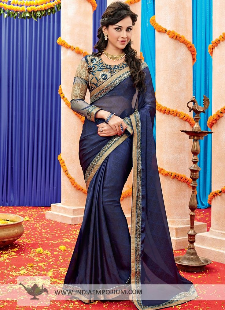 Navy Blue Lavish Satin #Saree With Lace Work