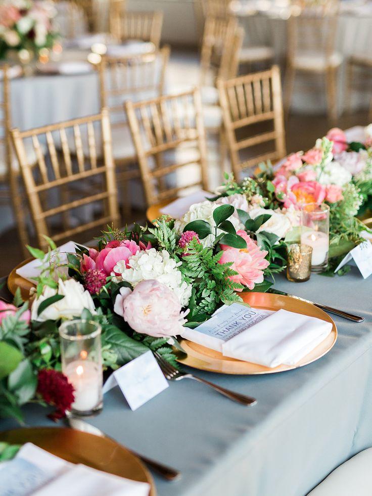 gold and dusty blue wedding reception decor