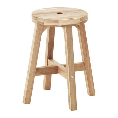 Voor marmeren tafeltje / IKEA - SKOGSTA, Kruk, Massief hout is een slijtvast natuurmateriaal.