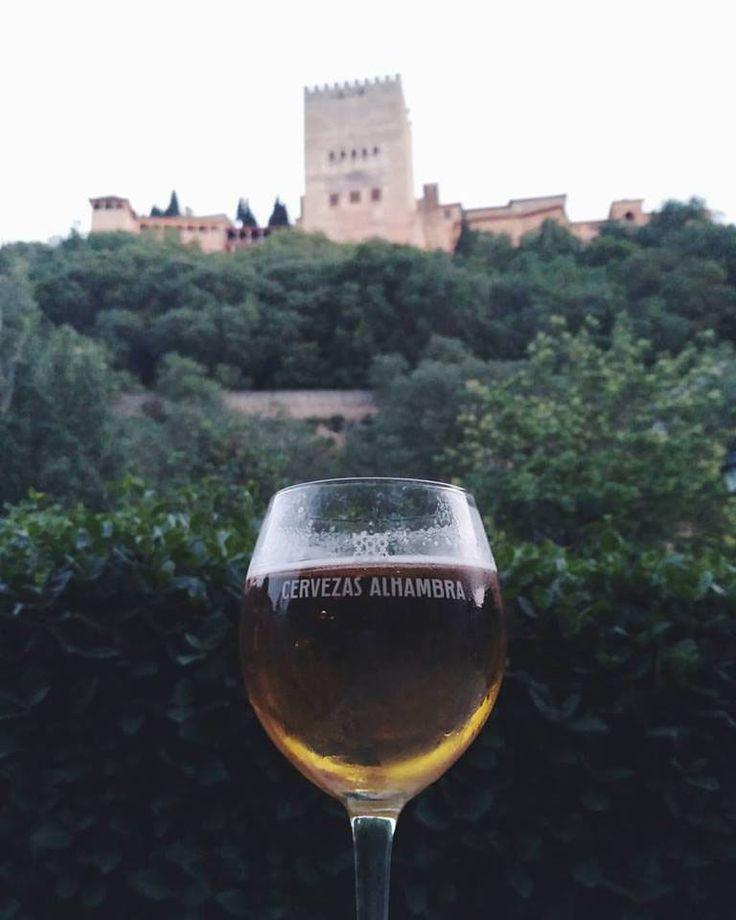Alhambra beer with Alhambra views. Granada,  Spain.
