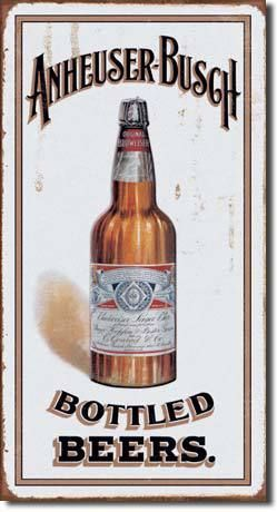 Anheuser Busch Bottled Vintage Beer Sign Reproduction provides just the right accent for your home, business or any decorating project. features the logo with the eagle. Tin sign reproduction with vin