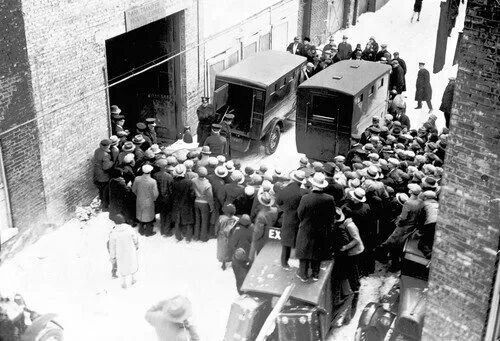 St. Valentines Day Massacre: Police removing bodies from the garage at 2122 N Clark St., 1929 (Chicago Pin of the Day, 2/14/2014).