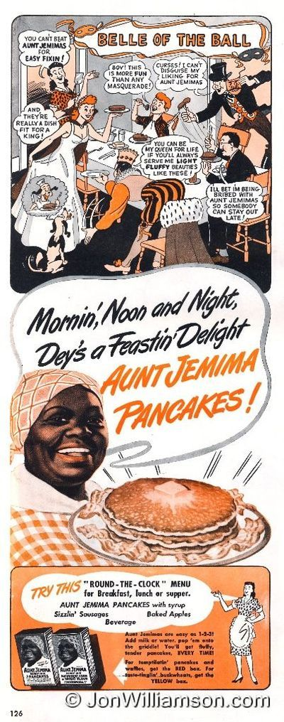 Vintage ad for Aunt Jemina pancake mix