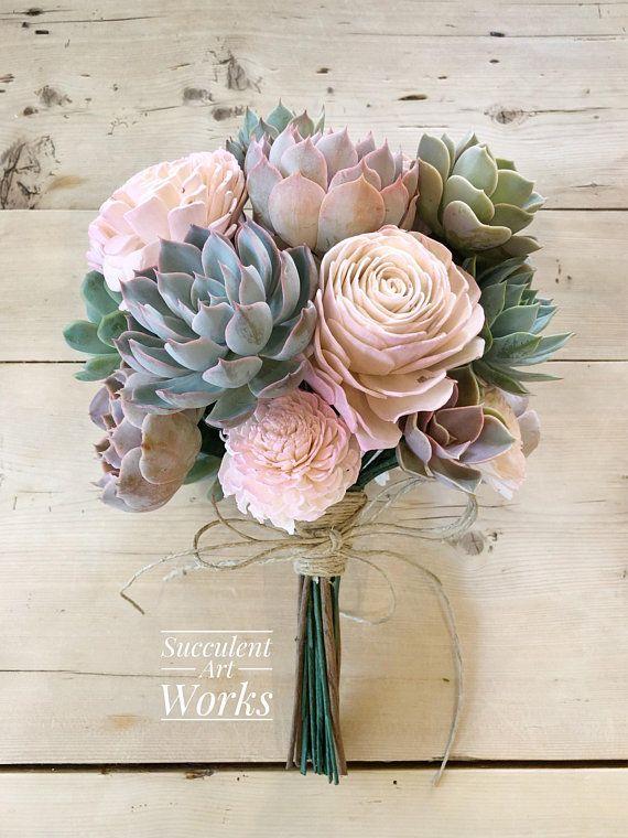 Succulent And Sola Flower Wedding Bouquet Customized Wedding Svadebnye Cvetochnye Kompozicii Svadebnye Bukety Svadebnye Idei
