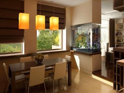 Feeling adventurous? Fish tanks provide a great source of interest and calm in any room. Add this idea to your dining room to create a calming discussion point that relaxes guests.