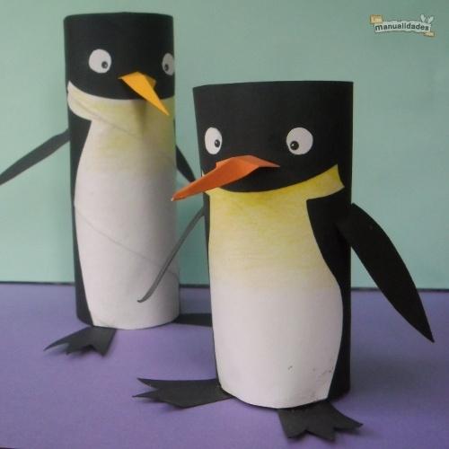 Animales de tubos de cartón: cómo hacer un pingüino