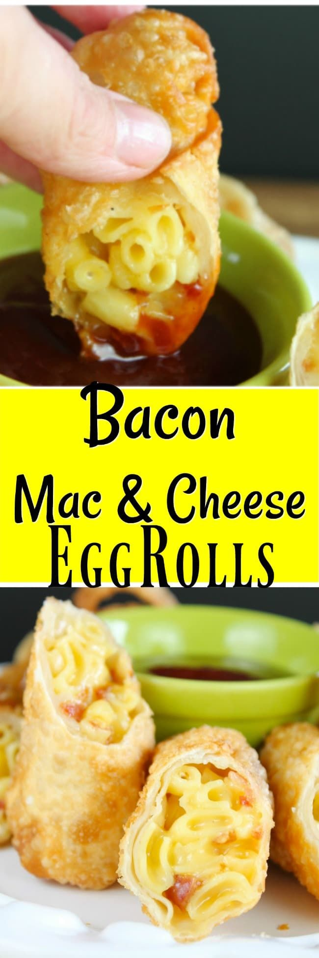 Bacon Mac & Cheese Egg Rolls Recipe ~ Amazing Appetizer for game day or any party!