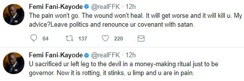 """""""You Sacrificed Your Left Leg To The Devil Just To Be Governor' - FFK Spits Fire http://ift.tt/2v6QD9c"""