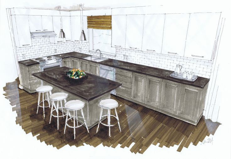 West Coast Kitchen, Michelle Morelan Design and Rendering