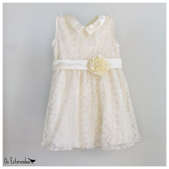 Girls Tulle Lace Dress - Girls Ivory Embroidered Tulle Lace Dress, Ivory satin lining, Sash and Peter Pan collar