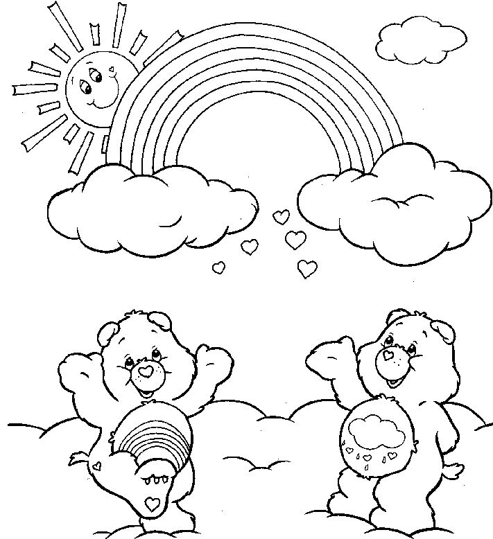 Rainbow Care Bears Coloring Drawing Kids PagesAdult