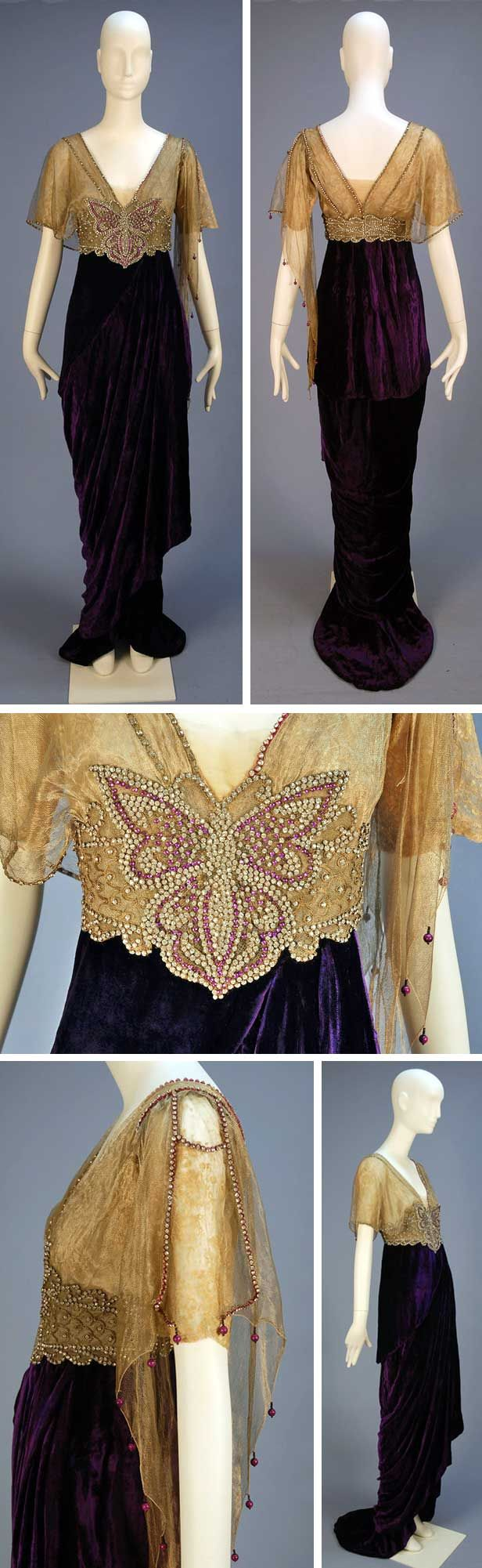 Evening gown, Joseph, New York, 1913. Royal purple panné silk with short-sleeved silk lace V-neck bodice asymmetrically draped in gold metallic mesh. High jeweled midriff band with clear center and magenta paste butterfly. Hobble skirt layered over short train. Whitaker Auctions