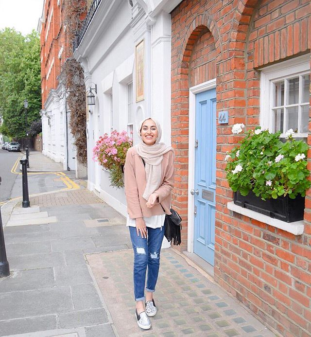 The pretty blue door that I had to get a pic with. #ootd #hijabfashion…