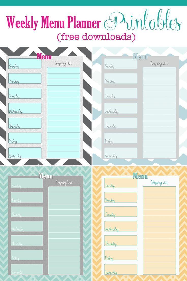 FREE Weekly Menu Planner Printable (4 colors) #menu #planner #free