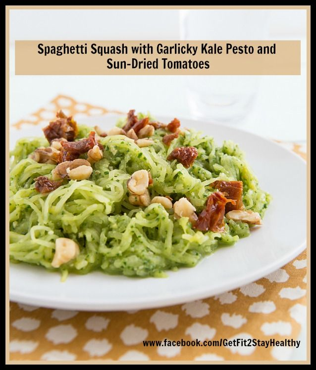 Spaghetti Squash with Garlicky Kale Pesto and Sun-Dried Tomatoes ...