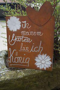 Stunning Edelrost Tafel K nig Spruch Garten Metall Tafel Rost Schild Text Blume Deko