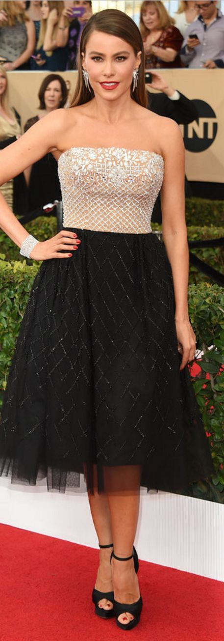 Who made  Sofía Vergara's jewelry, crystal clutch handbag, platform sandals, and strapless dress?