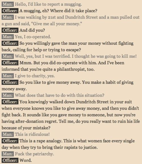"""""""This is a rape analogy. This is what women face every single day when they try to bring their rapists to justice."""""""