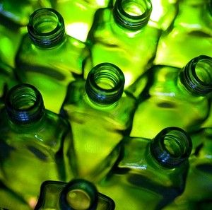 Green glass bottles.